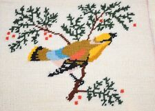"""VINTAGE COLORFUL BIRD COMPLETED WOOL NEEDLE POINT 8"""" X 9"""""""
