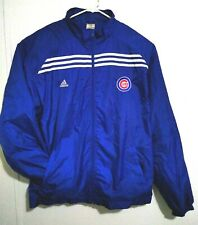 Adidas Mens Chicago Cubs Windbreaker Jacket XL Blue Triple Striped Mesh Lined
