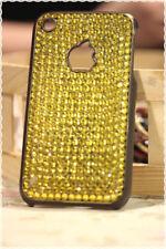 Cover rigida iphone 3-3gs strass gialli applicati a mano colore base marrone