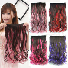 Colorful Streaked Long Wavy curly Clip in Hair Extensions Piece 3/4 full head