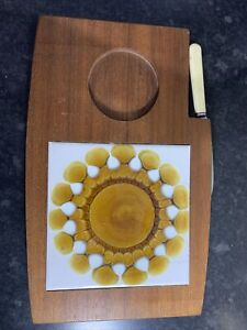 Vintage 1970s Teak And Tile Wyncraft Cheese Board Retro