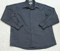 Van Heusen Gray Lux Sateen Pocket Dress Shirt Button Up 18 34/35 Men's Man's Top