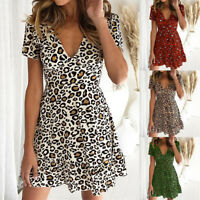 Ladies Leopard Print Sexy V-Neck Short Sleeve Casual Cocktail Party Summer Dress