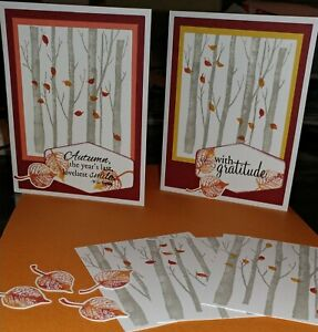 Stampin' Up WELCOMING WOODS - Handcrafted Card kit, Set of 4