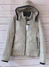 NWT GUESS Mens Size S Quilted Down Full Zip Hooded Puffer Jacket Beige