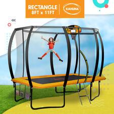 Kahuna 8 x 11 ft Trampoline Rectangular Safety Net Spring Pad Mat Basketball Set