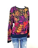 Bogner Women's Size Large 100% Cotton Sweater Multi Color Pull Over Crew Neck
