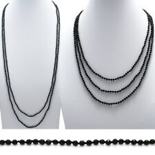 "Genuine Black Faceted Onyx 76"" Long 4mm Bead Stranded Necklace"