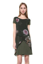 Desigual Khaki Floral Chiffon Overlayer Kina Dress 36-46 UK 8-18 RRP �79