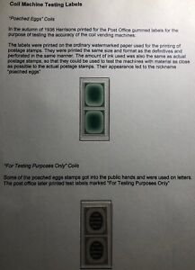 Mint England Coil Machine Testing Label Stamp Poached Eggs & Testing Purposes