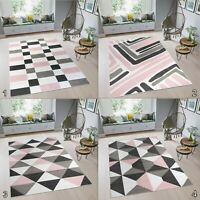 New TAPISO Modern Geometric Design Area Rugs Pastel Pink S-XXL Rugs for Bedroom