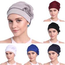 Women's Flower Head Wrap Headband Turban Hats Muslim Bandanas Head Cap Cover