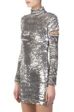 NWT $1495 Helmut Lang Disco Silver Sequin Cutout Sleeve Dress M