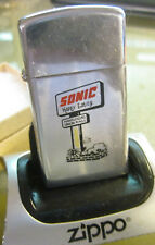 Vintage rare 1977 SONIC FAST FOOD RESTAURANTS slim ZIPPO LIGHTER NICE