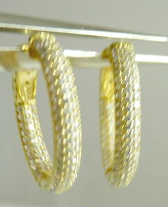 """inside outside Sterling CZ High End Earrings Fine Cut Stones big sparkle ¾"""" Hoop"""