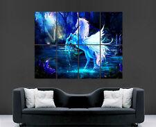 PEGASUS NEON BLUE POSTER UNICORN IMAGE GIANT PRINT WALL ART LARGE PICTURE