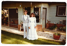 Vintage 80s PHOTO Young Teen Couple In Dressy Prom? Tuxedo Dress Gown