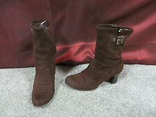Predictions Dark Brown Stretch Fabric Fashion High Ankle Boots w/Buckle Accent 8