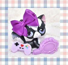 ��Authentic Littlest Pet Shop Lps No # Black Longhair Angora Cat Purple Eyes��