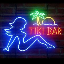 "New Tiki Bar Flap Girl Palm Tree Beer Bar Neon Light Sign 24""x20"""