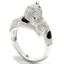 Sterling Silver 1.92ctw White Natural Zircon & Black Spinel Ring, Size 7