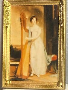 Vintage Artisan Woman with Harp Signed Framed 1:12 Dollhouse Miniature