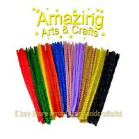 100  CHENILLE TIGER TAILS STRIPE CRAFT PIPE CLEANERS STEMS 30cm