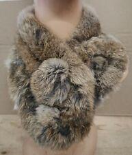 brown genuine real rabbit fur pom pom scarf neck warmer collar shawl stole