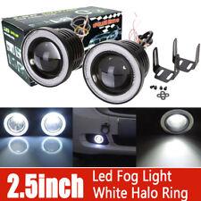 "2X 2.5"" Inch Projector LED Fog Head Light COB Halo Angel Eye Ring White Car Auto"