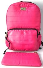 Luv Betsey Johnson Backpack & Pencil Pouch Bag Quilted Fuchsia School Set NWT