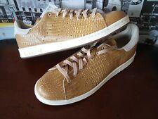 Adidas Originals Stan Smith D67657 Pale Nude/Gold Crocodile Tennis Shoes Sz 12
