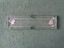 Lucite 2 Player Cribbage Board Pink Roses + Leaves No Pegs A6