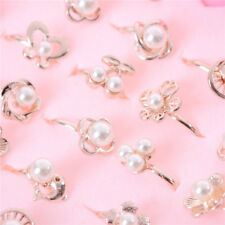 2x Fashion Adjustable Kids Rings Jewelry Pearl Rings For Children Toy Gift HC