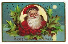 Early Santa Claus Postcard - Santa with Holly