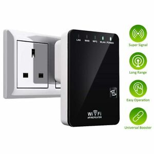Wireless WiFi Repeater Router Internet Booster 300Mbps AP RJ45 WPS SKY UK Plug