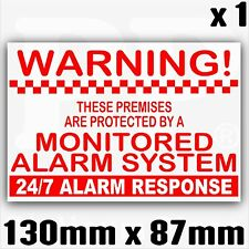 1 x Premises Alarm System Monitored Sticker-External Security Sign Notice 130mm