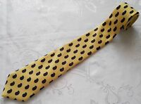 FRANCE-GENTS VINTAGE AUTHENTIC LANVIN PAISLEY YELLOW SILK MEN'S NECK TIE