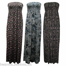 Ladies Women Printed Monochrome Aztec Shirring Bandeau Maxi Dress Plus Size 8-22
