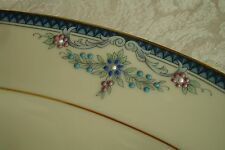 """Lenox China Columbia Blue Floral 16"""" Oval Serving Platter NEW in Box"""