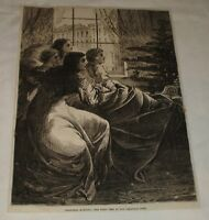 1870 magazine engraving ~ CHRISTMAS MORNING ~ First Peep At The Tree