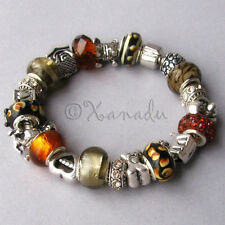 Puppy Love Black Brown Grey European Style Charm Bracelet With Silver Dog Charms