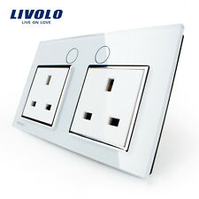Livolo UK Standard Wall Power Socket White Glass Panel Double 13A Wall Outlet