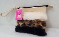 NWT Betsey Johnson fur sunglass case pouch wristlet clutch purse