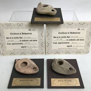 Antique 3 Roman Oil Lamps CA 300 AD Mounted Certificates of Authenticity 023150