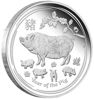 2019 Australia PROOF Lunar Year of the Pig 1oz Silver $1 Coin w/ COA