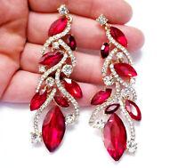 Red Chandelier Drop Earrings Rhinestone Crystal 3.2 in