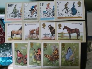 THREE GOOD SETS OF 1970s PO PHQ CARDS: CYCLING; HORSES; BUTTERFLIES: ALL IN VGC