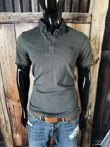 Fred Perry Short Sleeve Dark Gray Cotton Polo Shirt Size Small Slim Fit