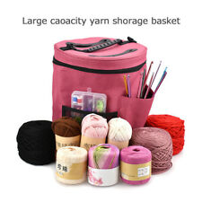 Large Canvas Cylinder Tote Bag Crochet Knitting Wool Yarn Storage Bag Organizer