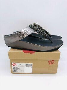FitFlop Women's Cha Cha Leather Sandal Nimbus Silver - choose size